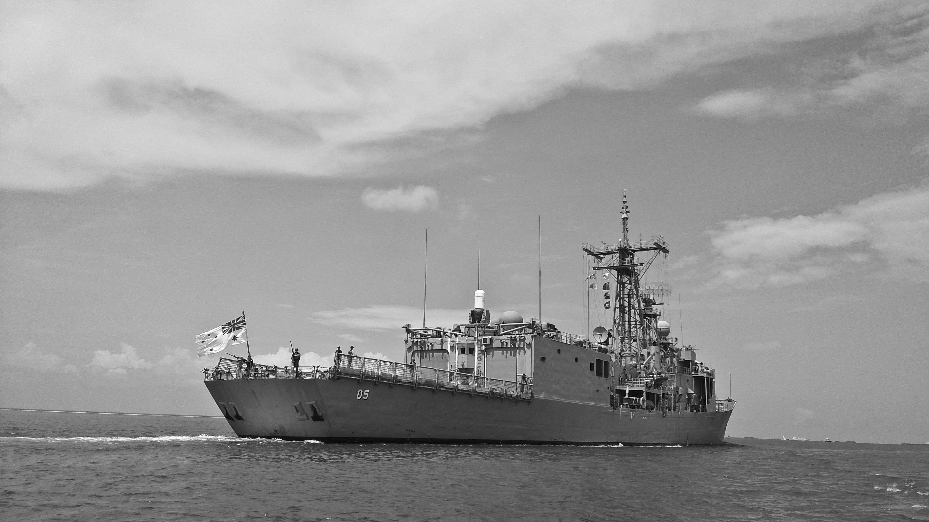 Battleship leaving Dar Es Salaam